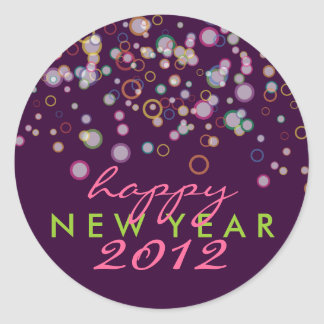 Celebration Bubbles Happy New Year's Eve Classic Round Sticker