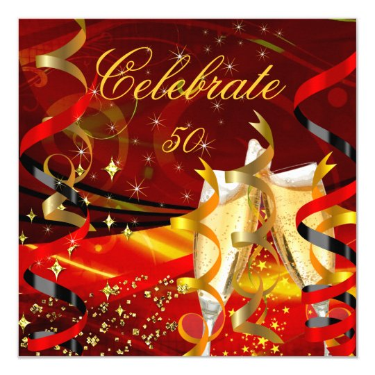 Celebration Champagne Abstract Red Gold Party 3 Card
