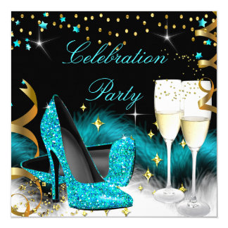 Celebration Champagne Party Teal Blue High Heels 13 Cm X 13 Cm Square Invitation Card