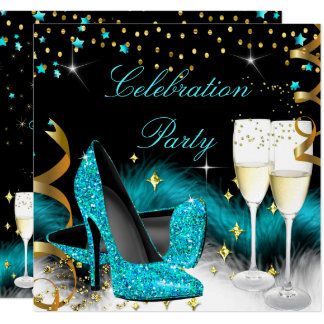 Celebration Champagne Party Teal Blue High Heels Card
