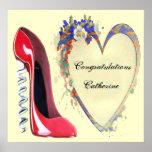 Celebration Corkscrew Red Stiletto Shoe Poster