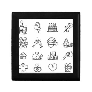 Celebration Holiday or Gift Hand Drawn Icon Set Small Square Gift Box