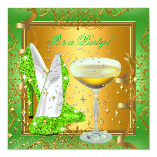 Celebration Lime Green Champagne Royal Gold Party 13 Cm X 13 Cm Square Invitation Card