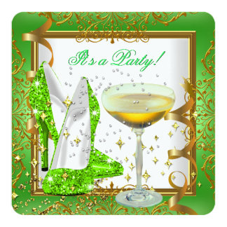 Celebration Lime Green Champagne White Gold Party 13 Cm X 13 Cm Square Invitation Card