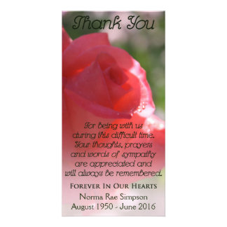 Celebration of Life Card, Coral Rose Memorial Card Customised Photo Card