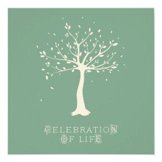 Celebration of Life - Custom - Elegant Tree Motif 13 Cm X 13 Cm Square Invitation Card