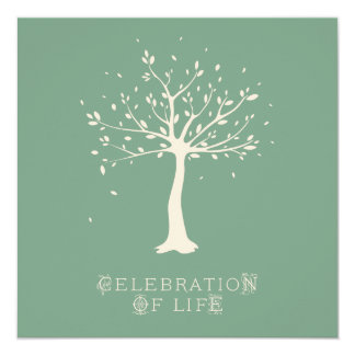 Celebration of Life - Custom - Elegant Tree Motif 13 Cm X 13 Cm Square Invitation Card