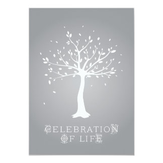 Celebration of Life - Custom - Elegant Tree Motif 13 Cm X 18 Cm Invitation Card