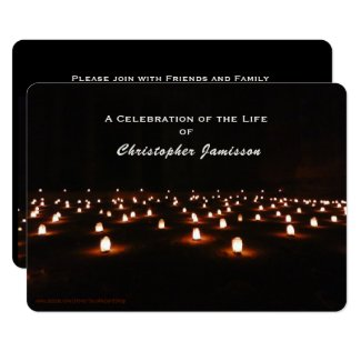 Celebration of Life, Dramatic Field of Candles Invitation
