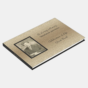 Celebration of Life, Elegant Gold With Photo Guest Book