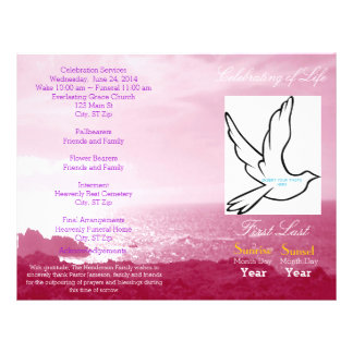 Celebration of Life Funeral Program-single fold 21.5 Cm X 28 Cm Flyer