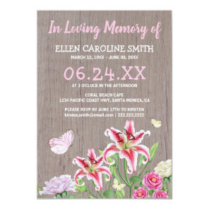 Celebration of Life | Funeral Rustic Floral Invitation