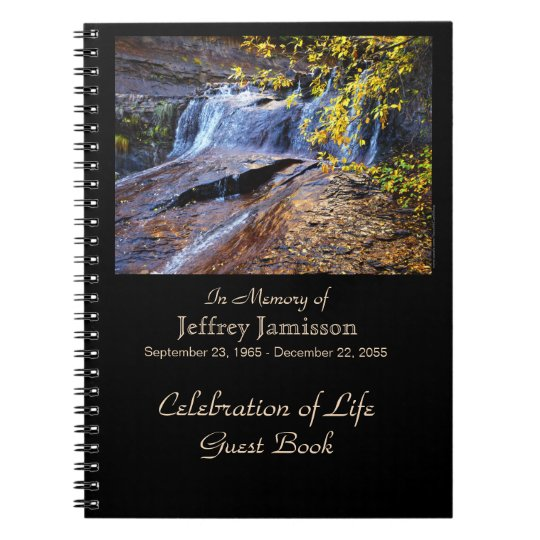 Celebration of Life Guest Book, Autumn Waterfall Spiral