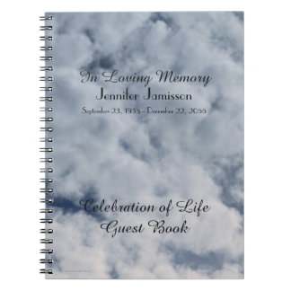 Celebration of Life Guest Book, Clouds Notebook
