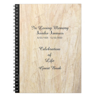 Celebration of Life Guest Book, Faux Parchment Notebooks