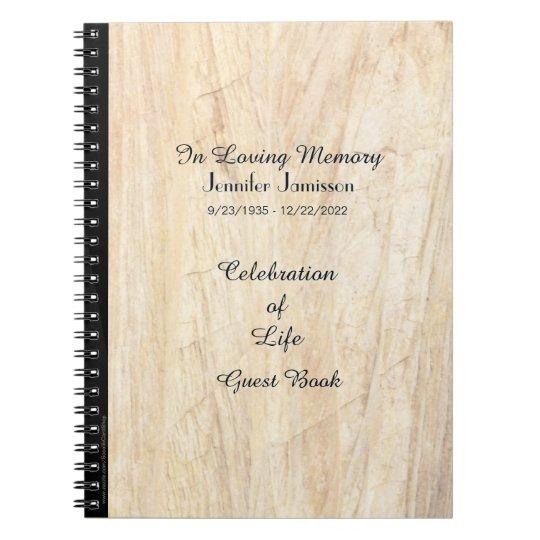 Celebration of Life Guest Book, Faux Parchment Notebooks