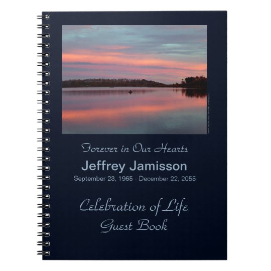 Celebration of Life Guest Book Fisherman at Sunset
