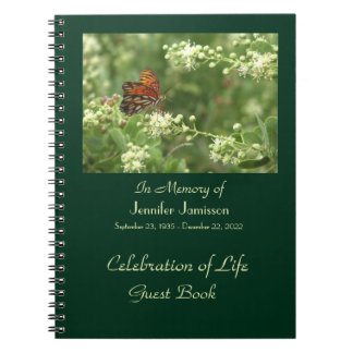 Celebration of Life Guest Book, Orange Butterfly Notebook