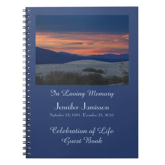 Celebration of Life Guest Book, Sunset at Dunes Notebook