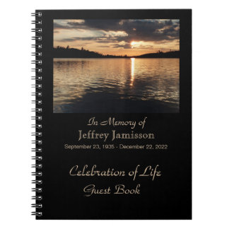 Celebration of Life Guest Book, Sunset at Lake Spiral Note Book