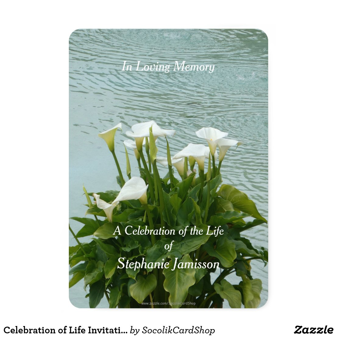 Celebration of Life Invitation Calla Lilies Floral