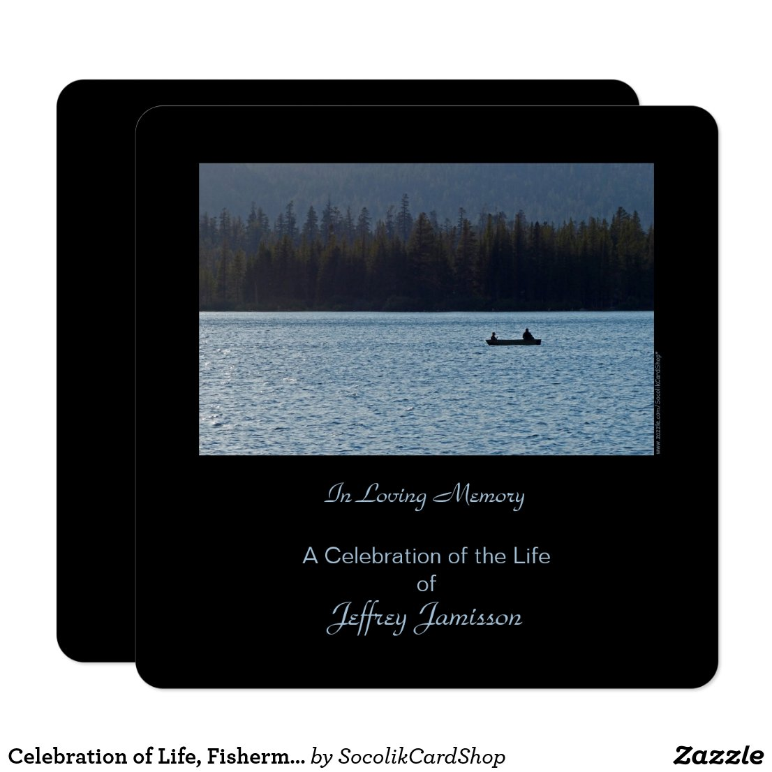 Celebration of Life Invitation, Fishermen, Square Invitation