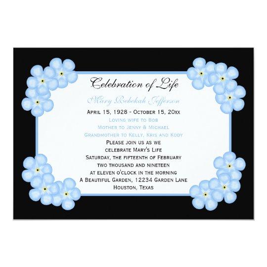 Celebration of Life Invitation -- Forget Me Nots