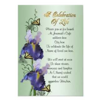 Celebration of life Invitation Iris and butterfly