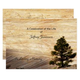 Celebration of Life Invitation, Light Brown Stone Card