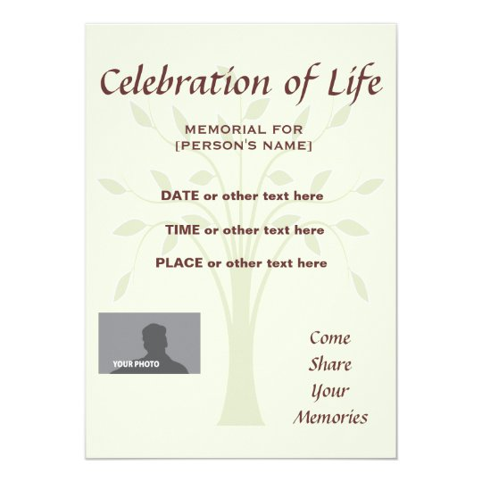Celebration of Life Memorial 5x7 custom background Card