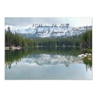 Celebration of Life Reflection Mountain Lake 13 Cm X 18 Cm Invitation Card