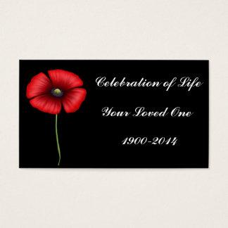 Celebration of Life with single poppy
