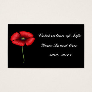 Celebration of Life with single poppy Business Card