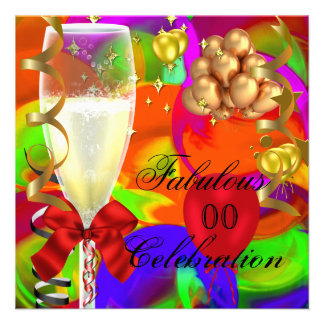 Celebration Party Red Gold Pink Purple Orange Personalized Invites