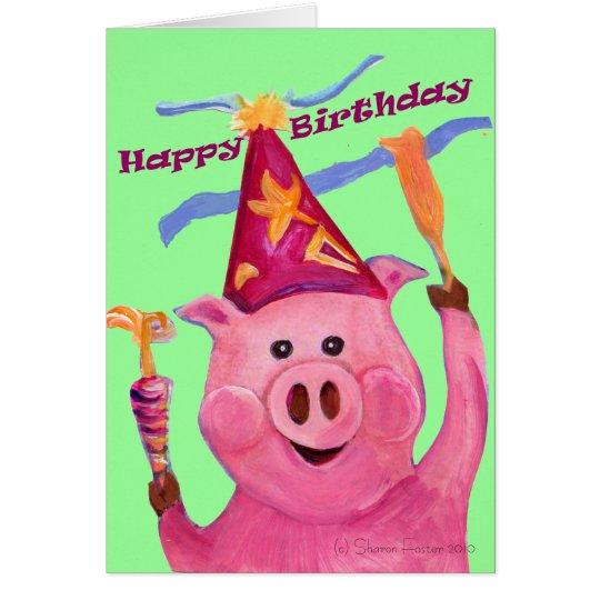 Celebration Pig Birthday Card