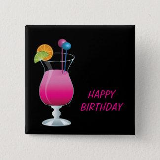 Celebration Pink Cocktail Happy Birthday 15 Cm Square Badge