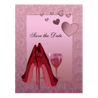 Celebration Red Stiletto and Pink Hearts Postcard