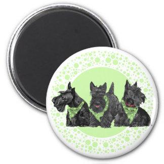 Celebration Scotties in Green 6 Cm Round Magnet