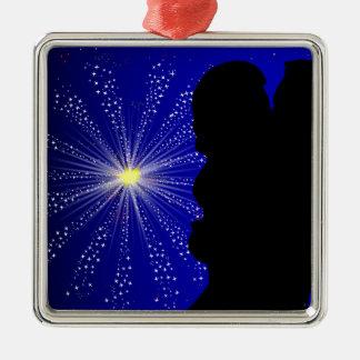 Celebration Silhgouette Kiss Silver-Colored Square Decoration