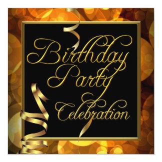 Celebration Streamers Orange Gold Black Party 13 Cm X 13 Cm Square Invitation Card
