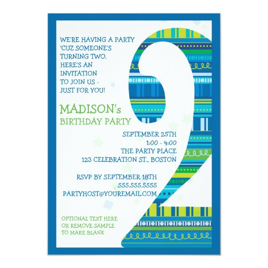 Celebration Stripes Number 2 Second Birthday Party Card