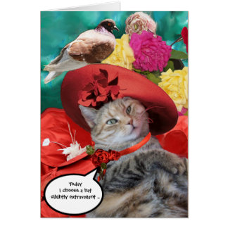 CELEBRITY CAT PRINCESS TATUS, RED HAT WITH PIGEON GREETING CARD