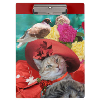 CELEBRITY CAT PRINCESS TATUS, RED HAT WITH PIGEON CLIPBOARD