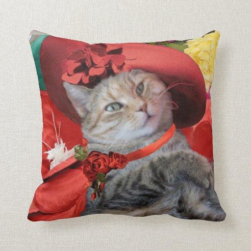 CELEBRITY CAT PRINCESS TATUS, RED HAT WITH PIGEON THROW PILLOWS