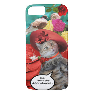 CELEBRITY CAT PRINCESS TATUS, RED HAT WITH PIGEON iPhone 8/7 CASE
