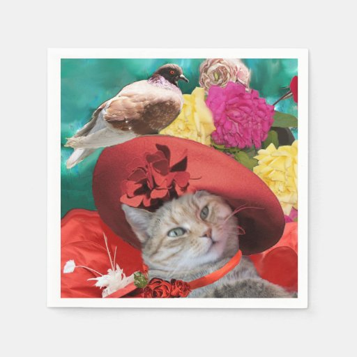 CELEBRITY CAT PRINCESS TATUS, RED HAT WITH PIGEON DISPOSABLE NAPKIN