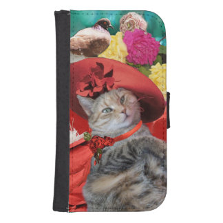 CELEBRITY CAT PRINCESS TATUS, RED HAT WITH PIGEON GALAXY S4 WALLET CASES