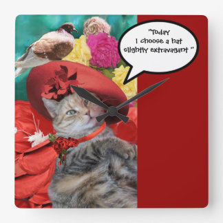 CELEBRITY CAT PRINCESS TATUS WITH RED HAT AND DOVE CLOCKS