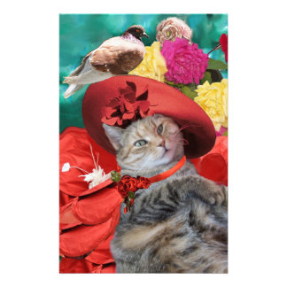 CELEBRITY CAT PRINCESS TATUS WITH RED HAT AND DOVE PERSONALIZED STATIONERY