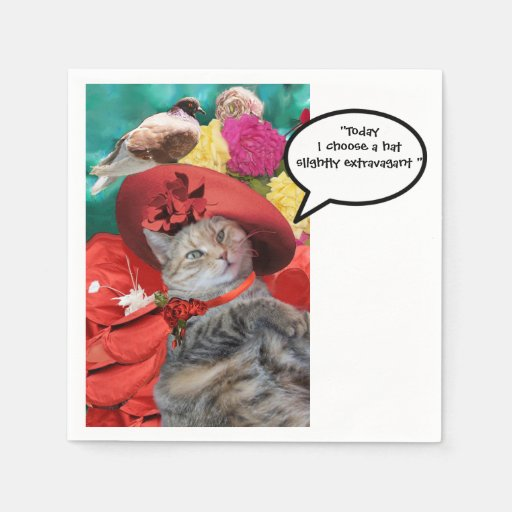 CELEBRITY CAT PRINCESS TATUS WITH RED HAT AND DOVE PAPER NAPKINS